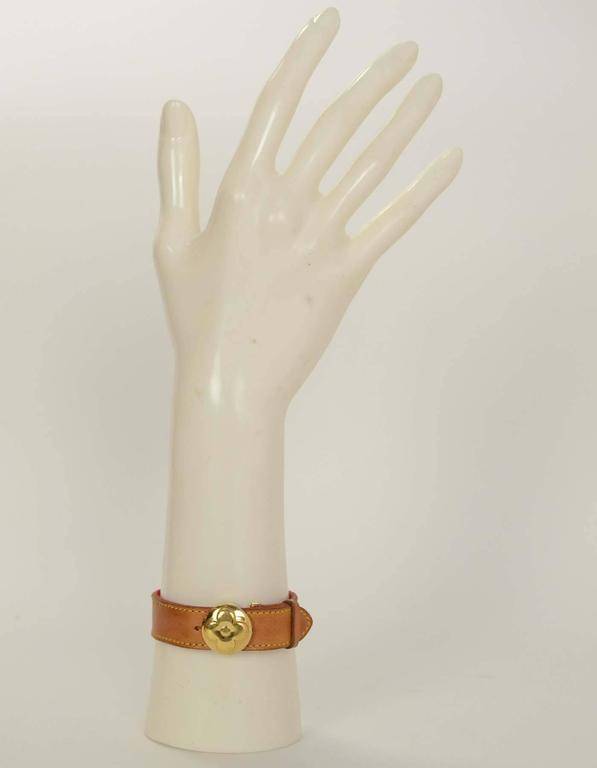 Louis Vuitton Tan Leather Wrap Bracelet sz M GHW 2