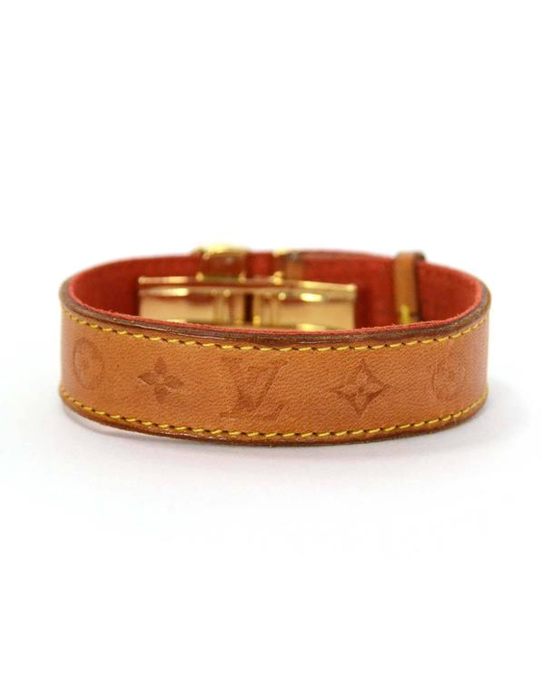 Louis Vuitton Tan Leather Wrap Bracelet sz M GHW 4