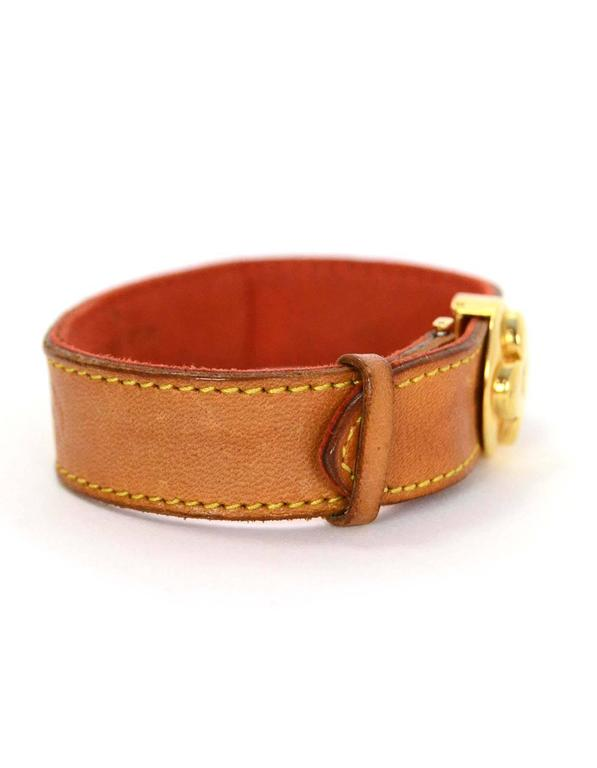 Louis Vuitton Tan Leather Wrap Bracelet sz M GHW 3