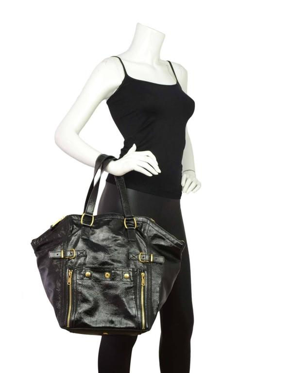 afaf18b56b7 Yves Saint Laurent Black Patent Leather Large Downtown Tote Made In  Italy  Color  Black