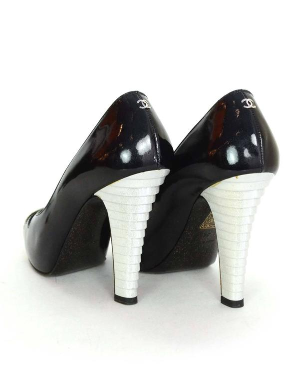 Chanel Black and White Glitter Patent Cap Toe Pumps Sz 38 For Sale 1