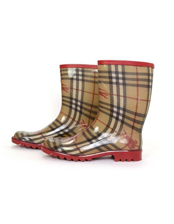 Burberry Tan And Red Nova Plaid Rain Boots Sz 40 For Sale