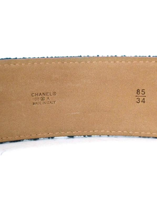Chanel Teal Tweed CC Belt Sz 85 with Box For Sale 1
