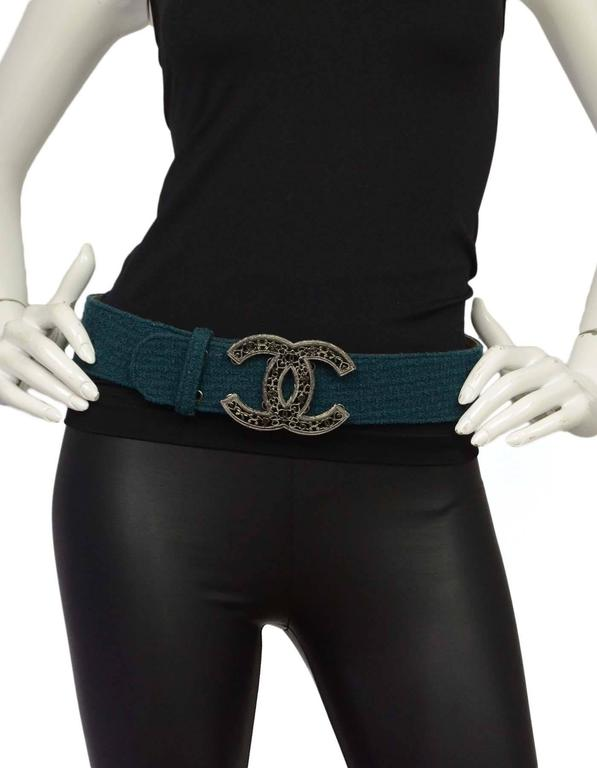 Chanel Teal Tweed CC Belt Sz 85