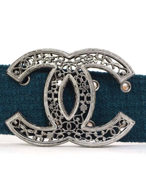 Women's Chanel Teal Tweed CC Belt Sz 85 with Box For Sale