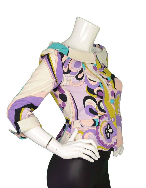 Emilio Pucci Purple, Pink and Green Print Jacket Sz 10 3