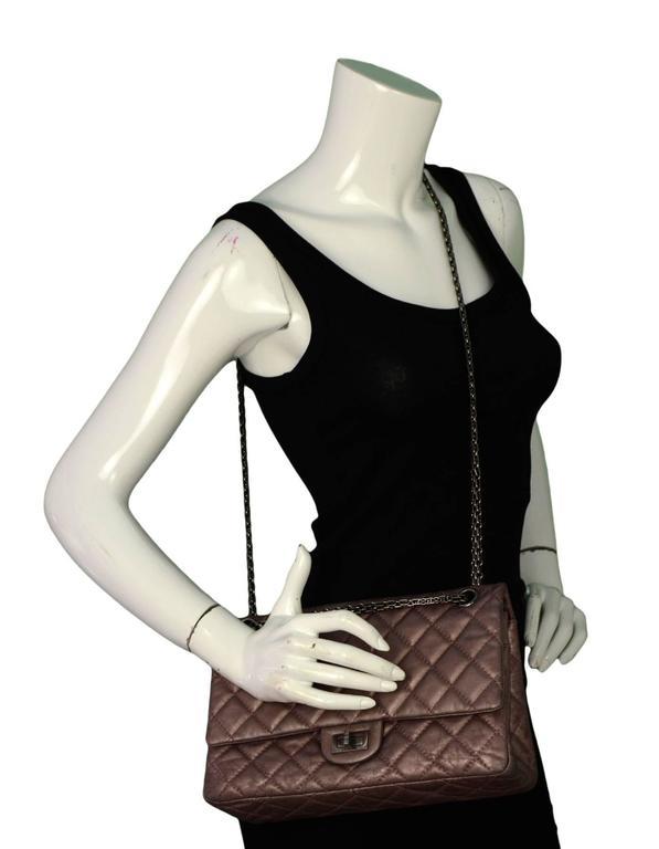 Chanel Muave Metallic Reissue 2.55 225 Medium Double Flap Classic Bag 2