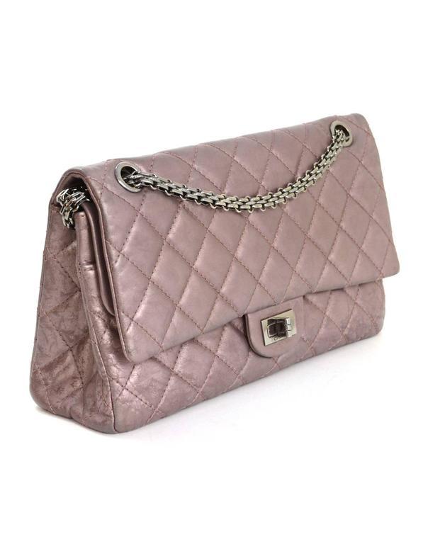 Chanel Muave Metallic Reissue 2.55 225 Medium Double Flap Classic Bag 3