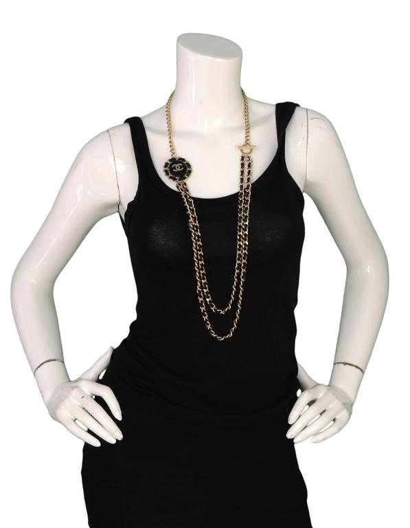 Chanel Goldtone and Black Leather Chain-Link Necklace