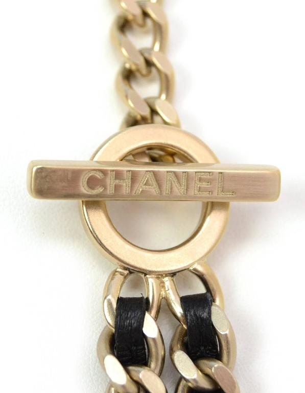 Chanel 2016 Goldtone and Black Leather Chain-Link Necklace In Excellent Condition For Sale In New York, NY