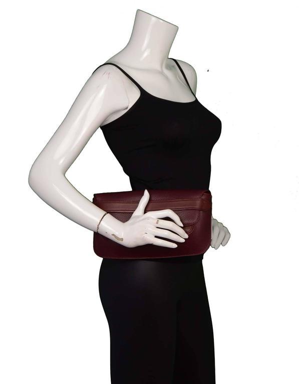 Cartier Burgundy Leather Vintage Envelope Clutch Bag GHW 9