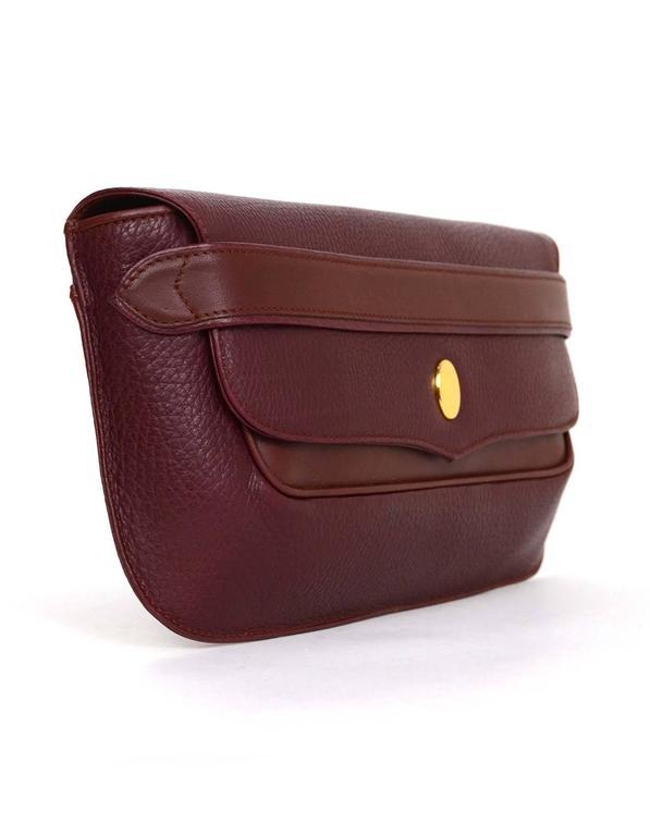 Cartier Burgundy Leather Vintage Envelope Clutch Bag GHW 3