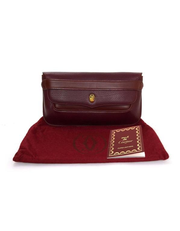 Cartier Burgundy Leather Vintage Envelope Clutch Bag GHW 8
