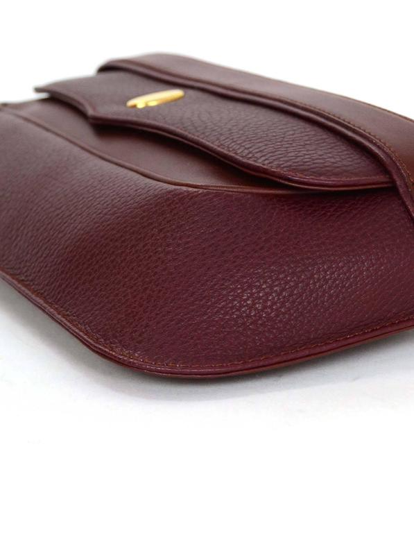 Cartier Burgundy Leather Vintage Envelope Clutch Bag GHW In Excellent Condition For Sale In New York, NY