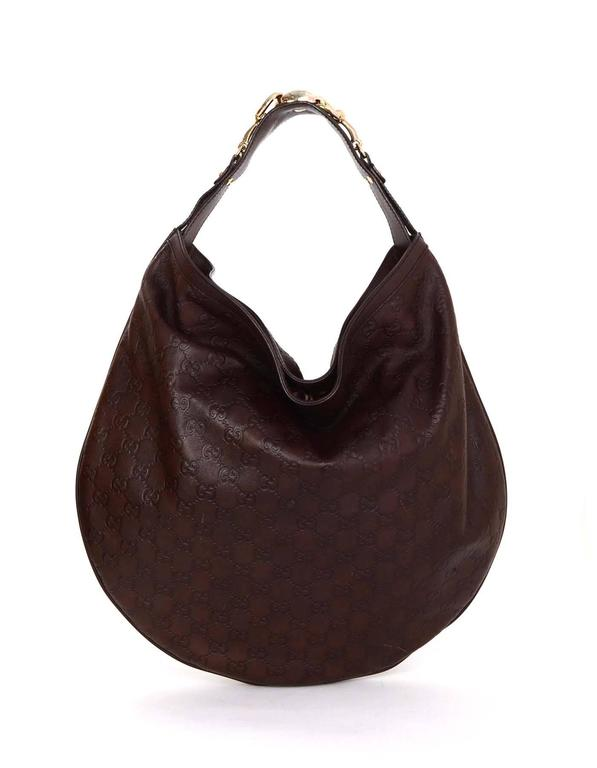 gucci brown embossed guccissima leather hobo bag for sale at 1stdibs
