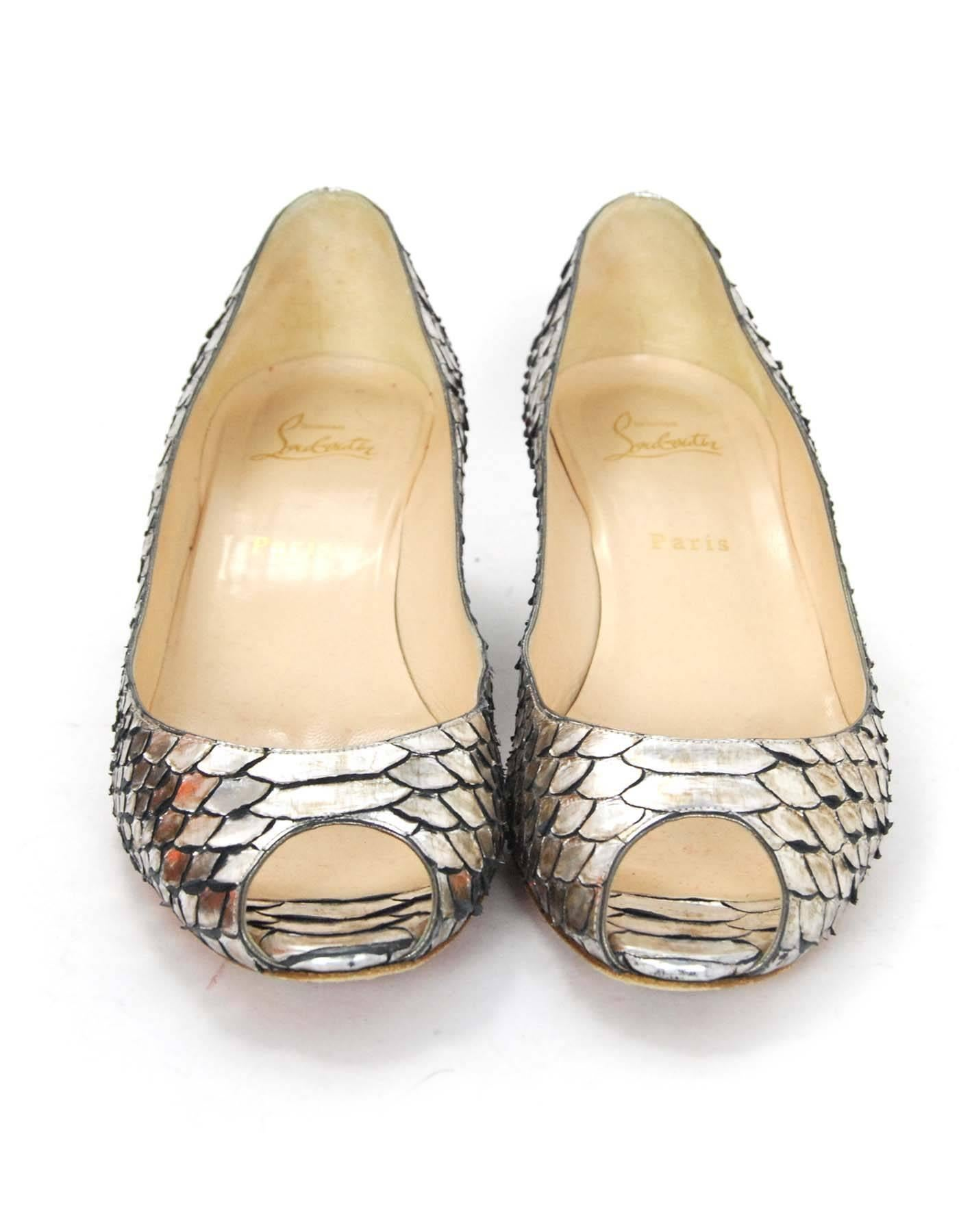 super popular e3f44 8bee5 Christian Louboutin Silver Python Open-Toe Wedges Sz 40.5