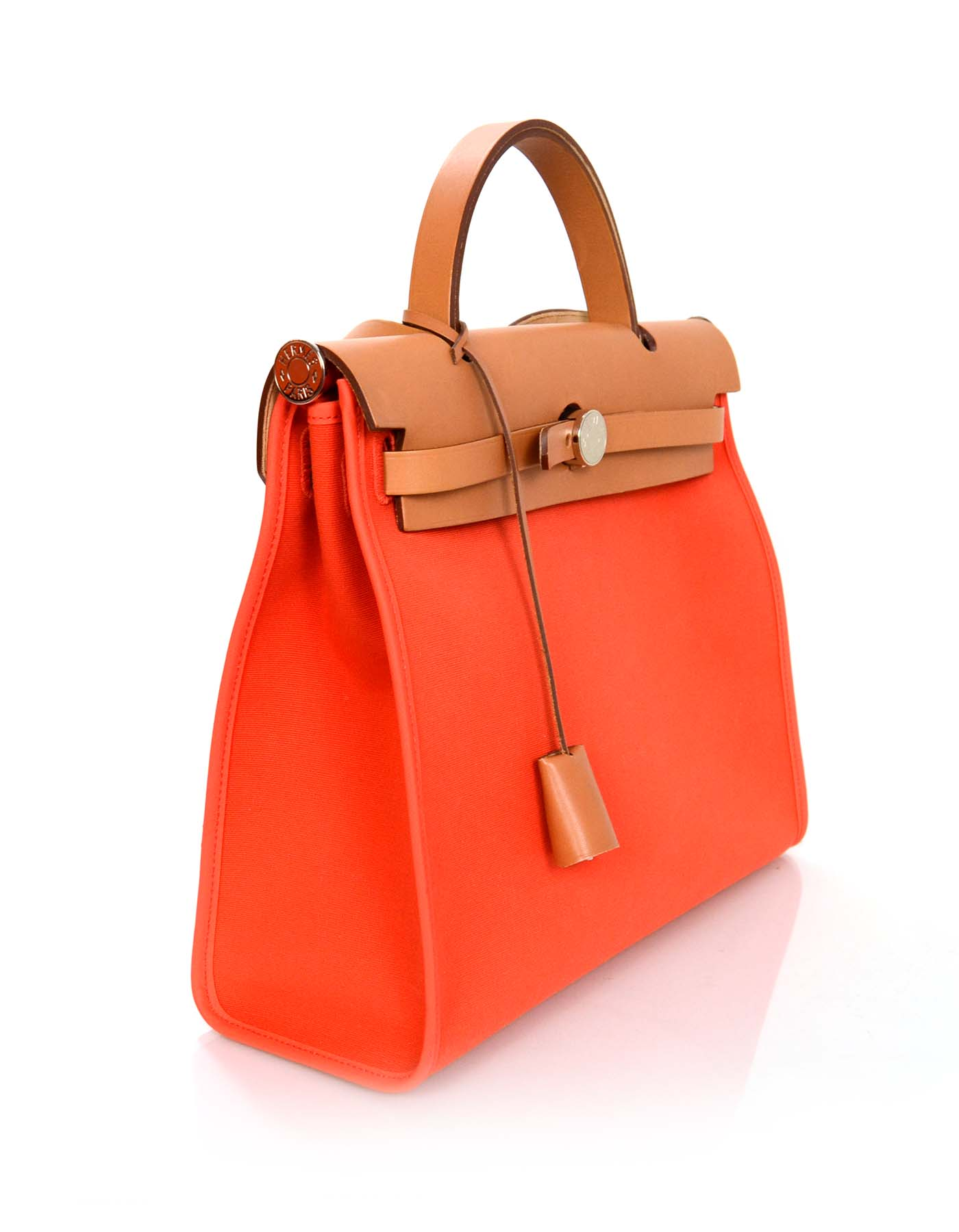 7a43614f1f89 Hermes 2015 Orange Canvas and Tan Leather Herbag Zip 31 PM w  Box and Dust  Bag For Sale at 1stdibs
