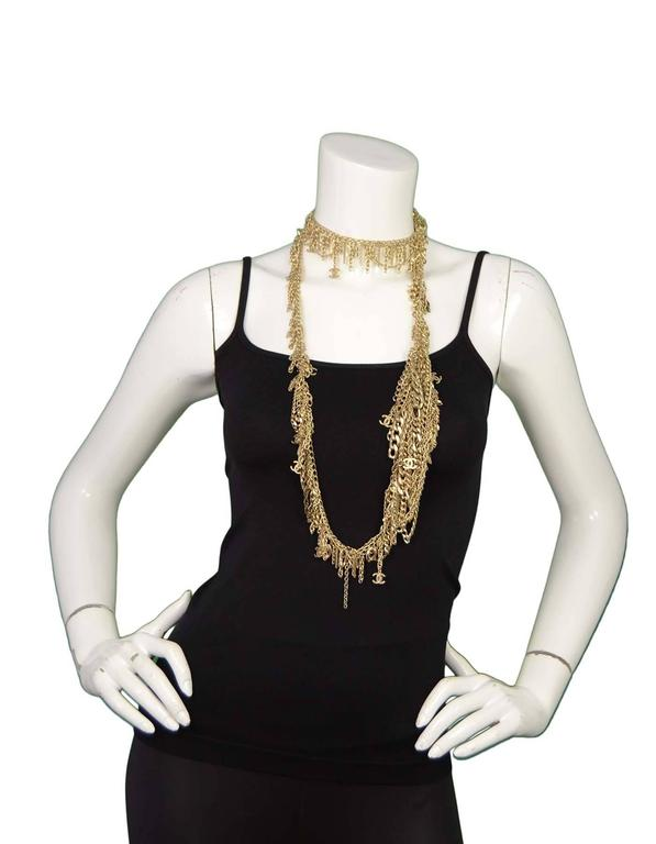 Chanel Extra Long Goldtone Multi Chainlink CC Necklace 3