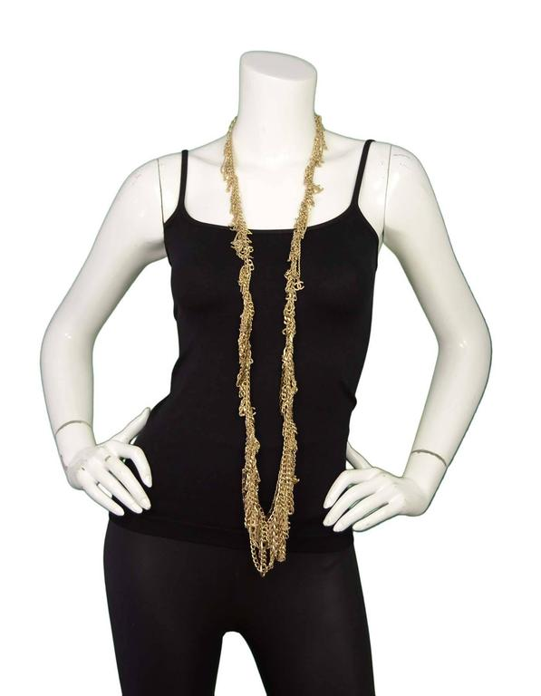 Chanel Extra Long Goldtone Multi Chainlink CC Necklace 4