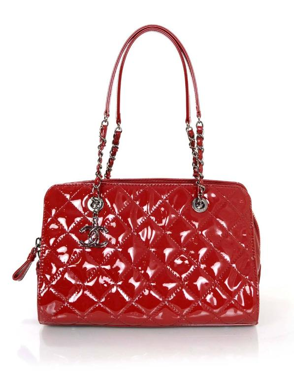 Chanel 2014 Red Patent Leather Quilted Tote Bag rt. $3,900 1
