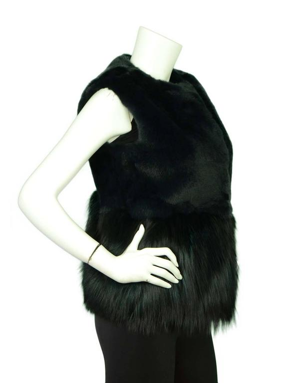 Co Bottle Green Fox and Rabbit Fur Vest Sz Small rt. $3,500 2