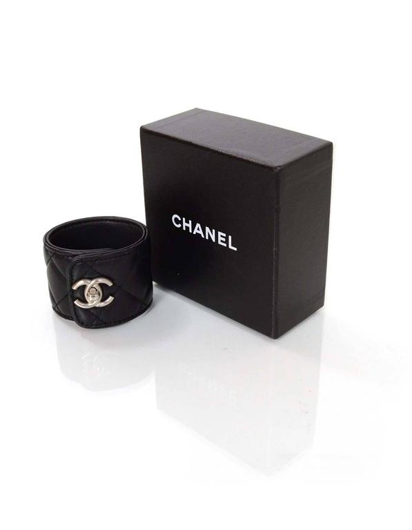 Chanel Black Quilted Leather Cc Twist Lock Cuff For 3