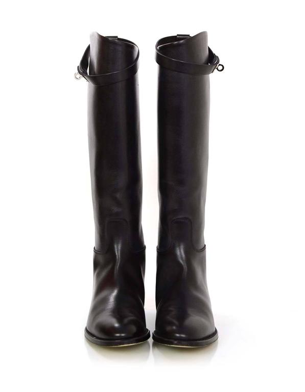 Hermes Black Leather Kelly Jumping Boots Sz 38 rt. $2,825 3