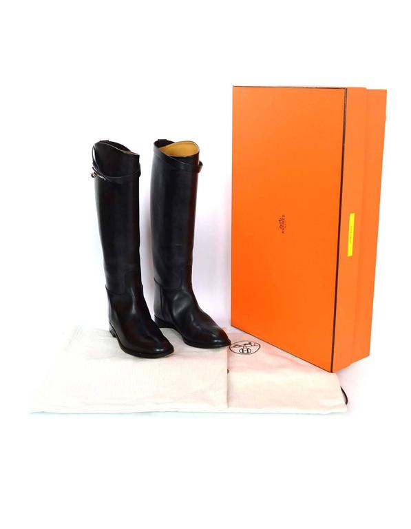 Hermes Black Leather Kelly Jumping Boots Sz 38 rt. $2,825 7