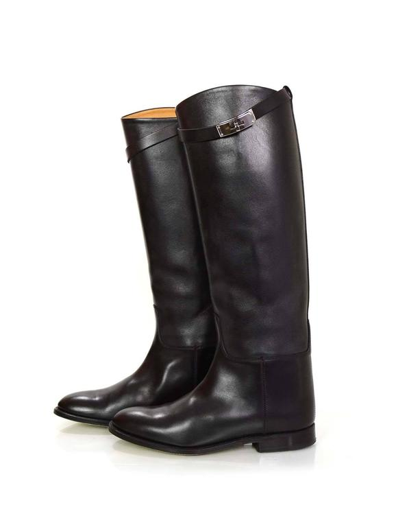 Hermes Black Leather Kelly Jumping Boots Sz 38 rt. $2,825 2