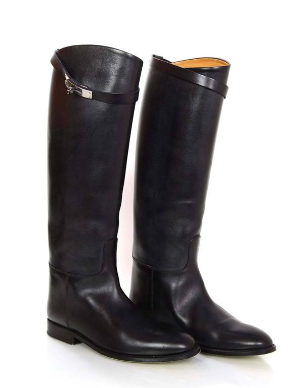 Hermes Black Leather Kelly Jumping Boots Sz 38 rt. $2,825 4