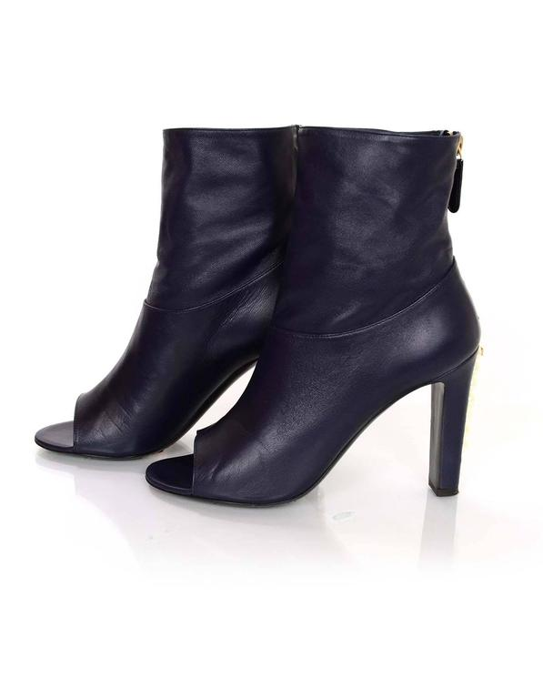 chanel navy leather open toe ankle boots w pearl heel sz
