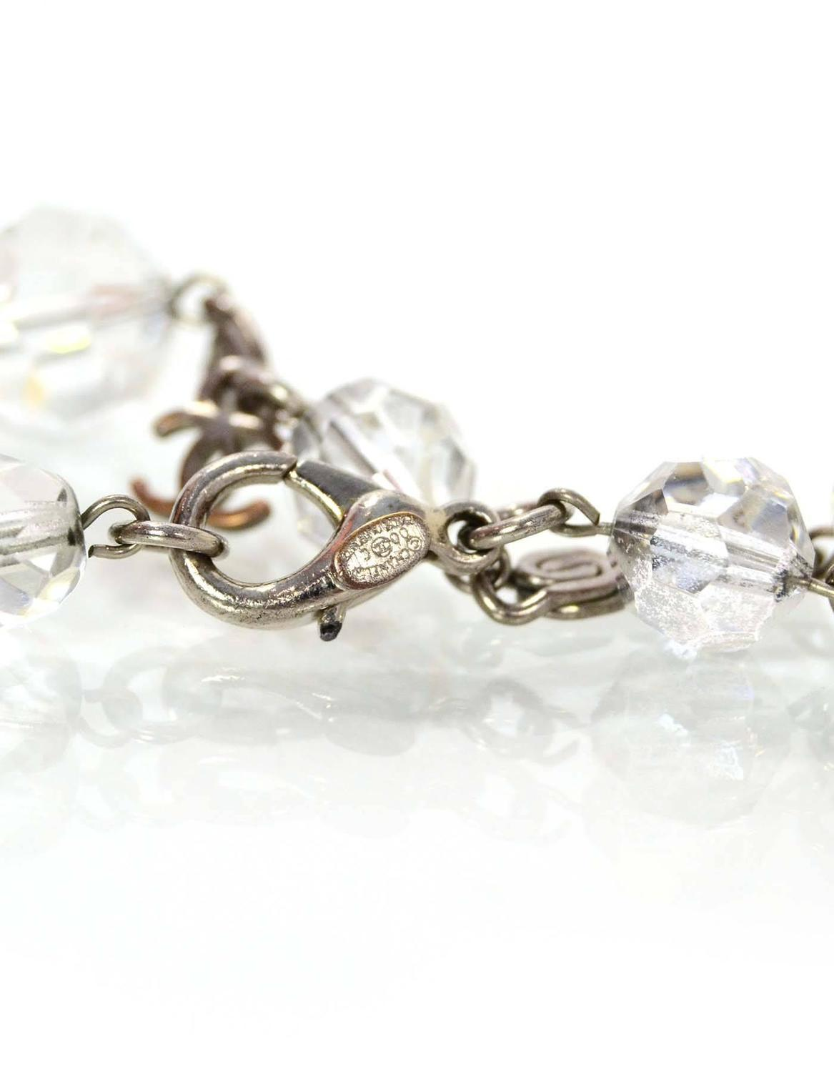 chanel clear bead cc charm bracelet for sale at 1stdibs