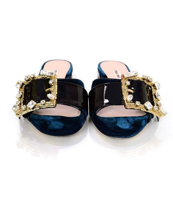 Miu Miu 2016 Teal Velvet And Crystal Buckle Sandals Sz 39