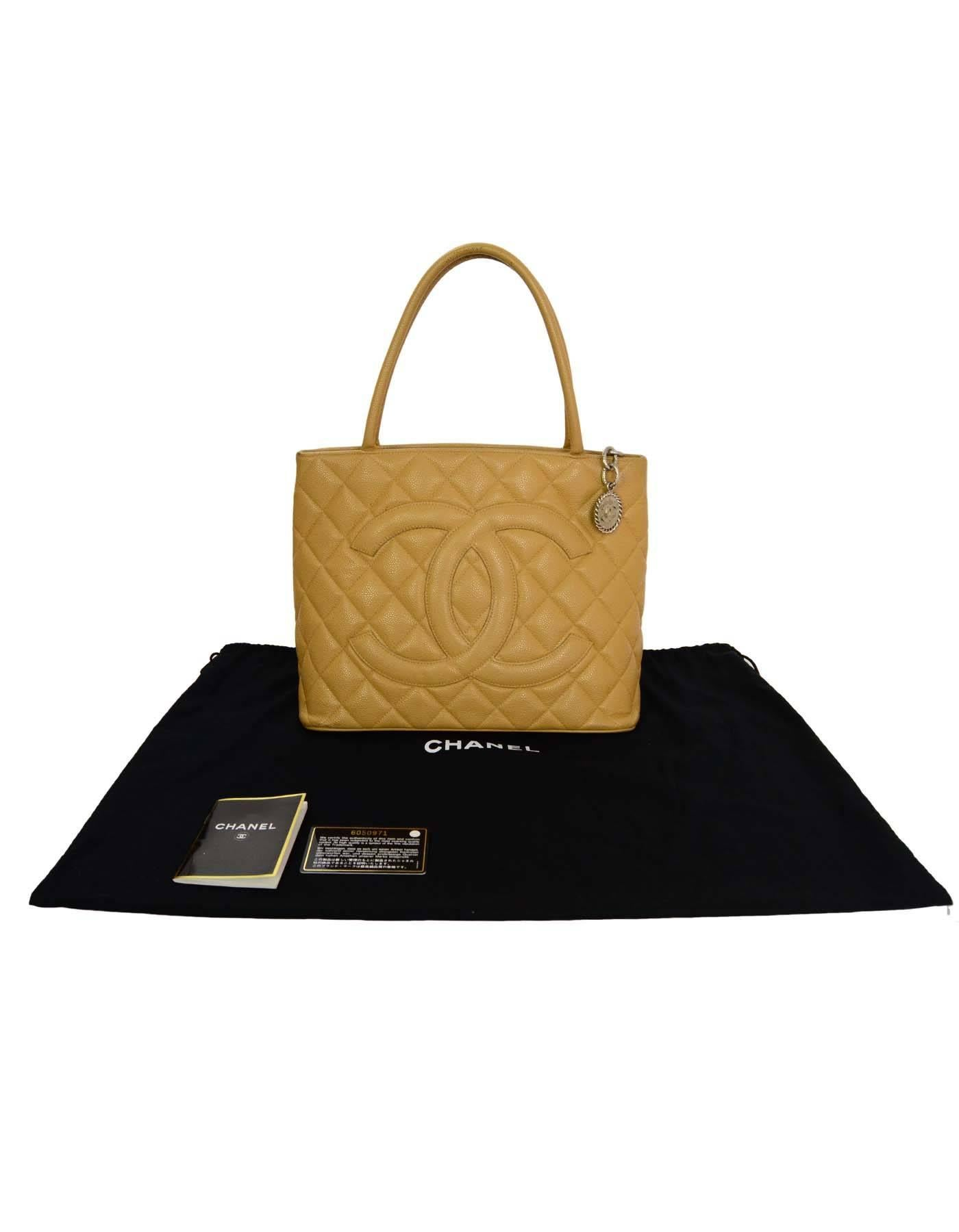 2d5f5f3ec45c Chanel Beige Caviar Leather Quilted CC Medallion Tote Bag For Sale at  1stdibs