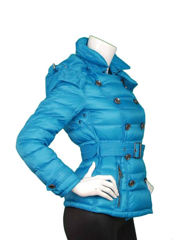 Burberry Brit Turquoise Puffer Jacket Sz S For Sale At 1stdibs