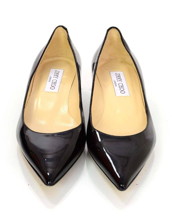 bd5ce689d5 Jimmy Choo Black Patent Leather Aza Kitten Heels Sz 36 In Excellent  Condition For Sale In