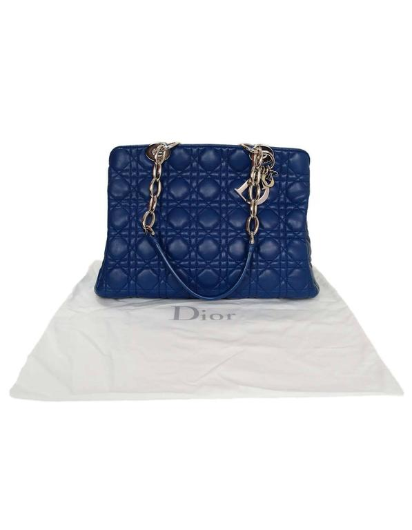 Christian Dior Marine Blue Cannage Quilted Soft Leather