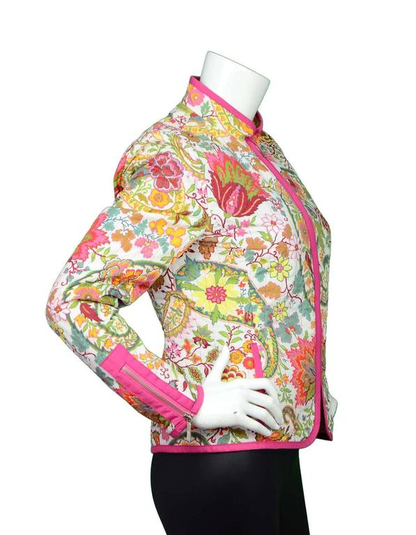 etro multi color paisley floral jacket sz 46 for sale at