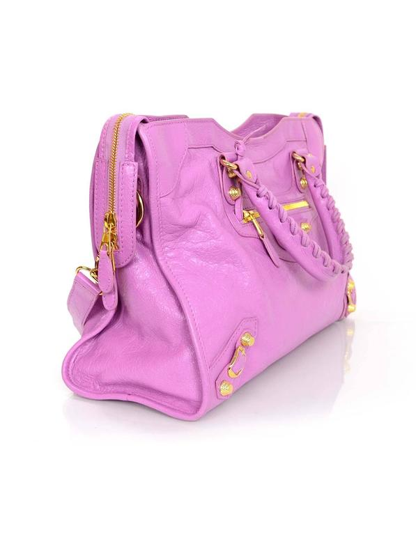 1635bd7a69f7 Purple Balenciaga Rose Berlingot Leather Giant 12 Gold Motorcycle City Bag  For Sale