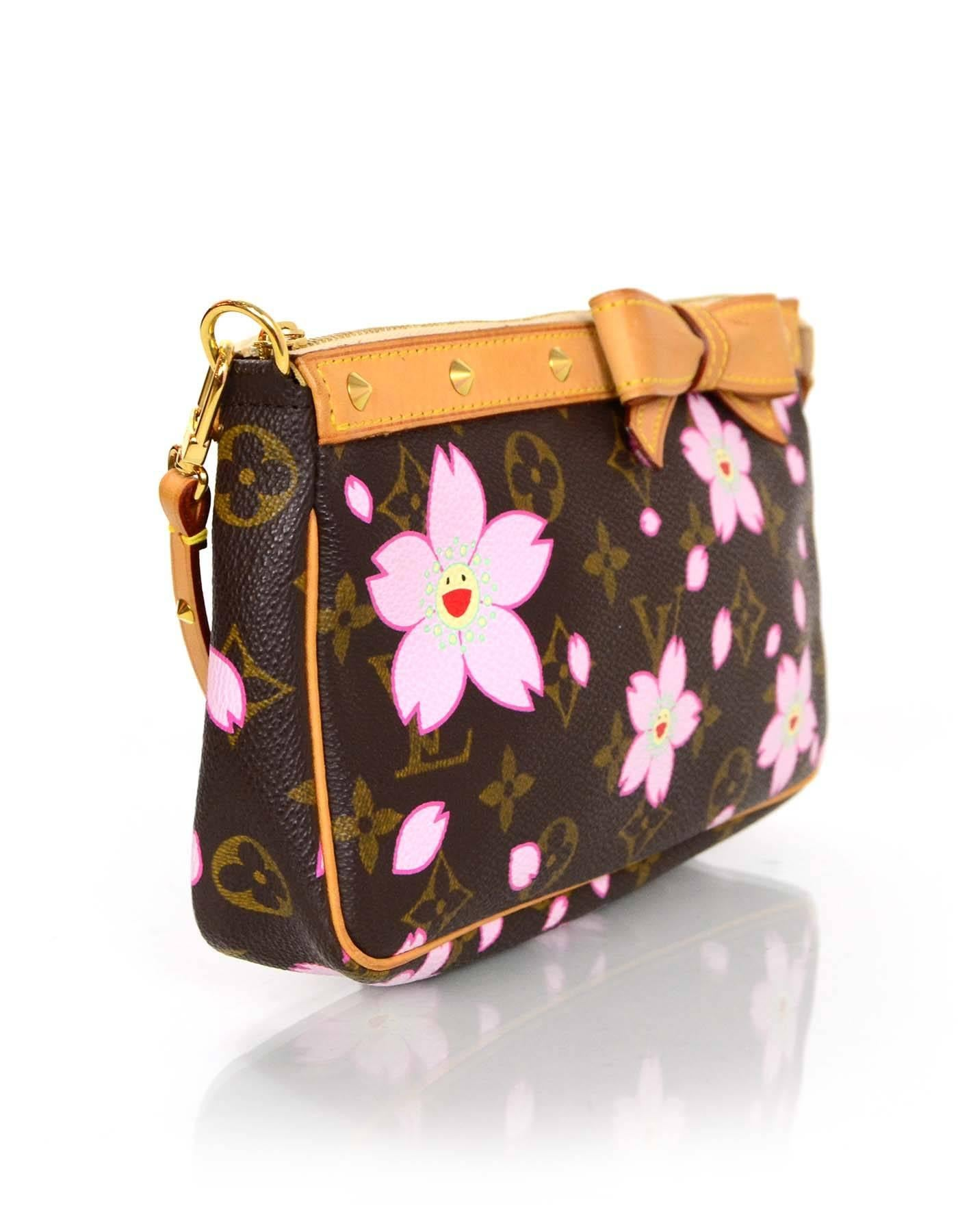 Louis Vuitton Limited Edition Monogram Murakami Cherry Blossom Pochette Bag  For Sale at 1stdibs 4ce271b5105f2