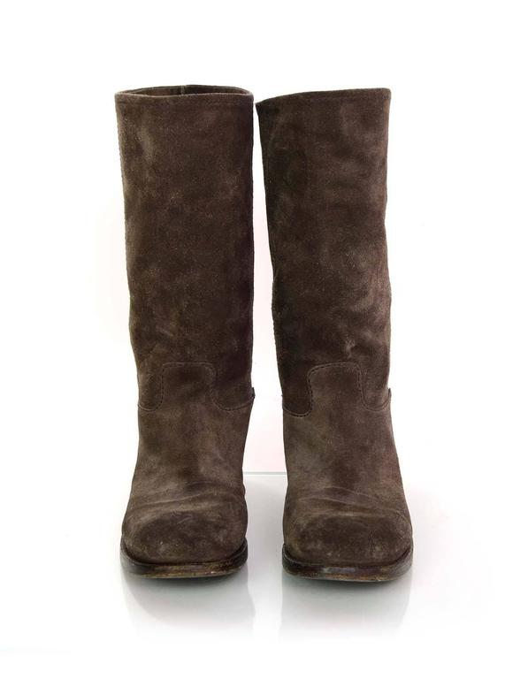 prada brown suede boots sz 37 for sale at 1stdibs