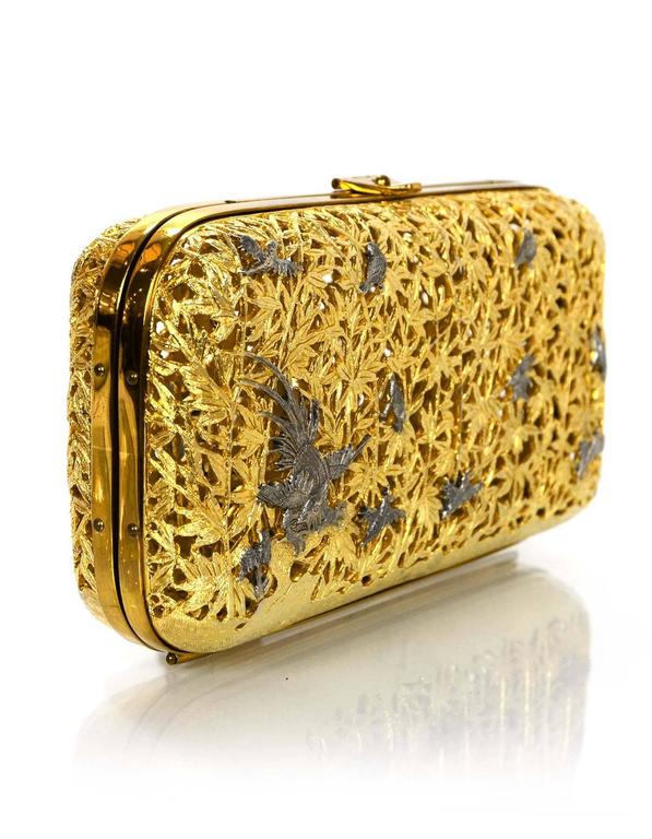 Judith Leiber Gold Metal Hard Case Minaudiere