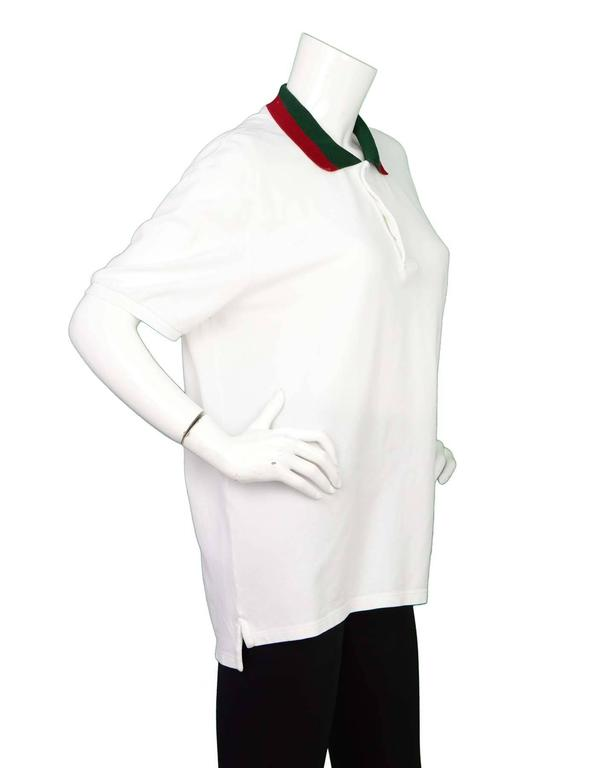 91852623 Gucci Men's White Polo Shirt with Web Collar Sz XXXL Made In: Italy Color: