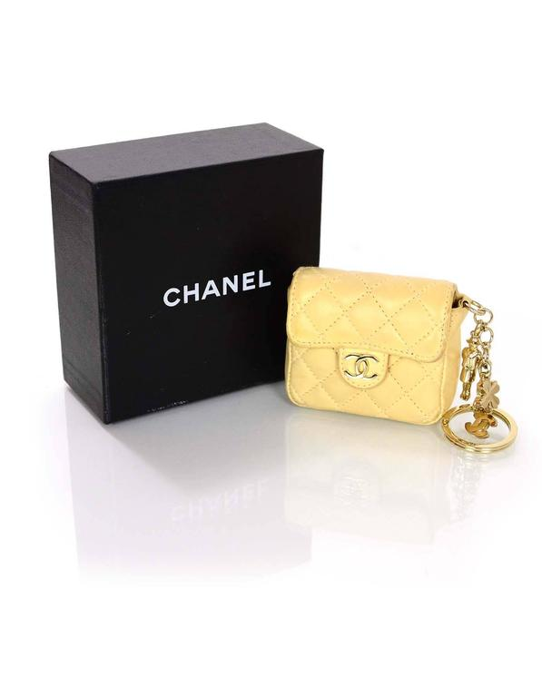 Chanel Beige Quilted Mini Flap Bag Key Ring Bag Charm For
