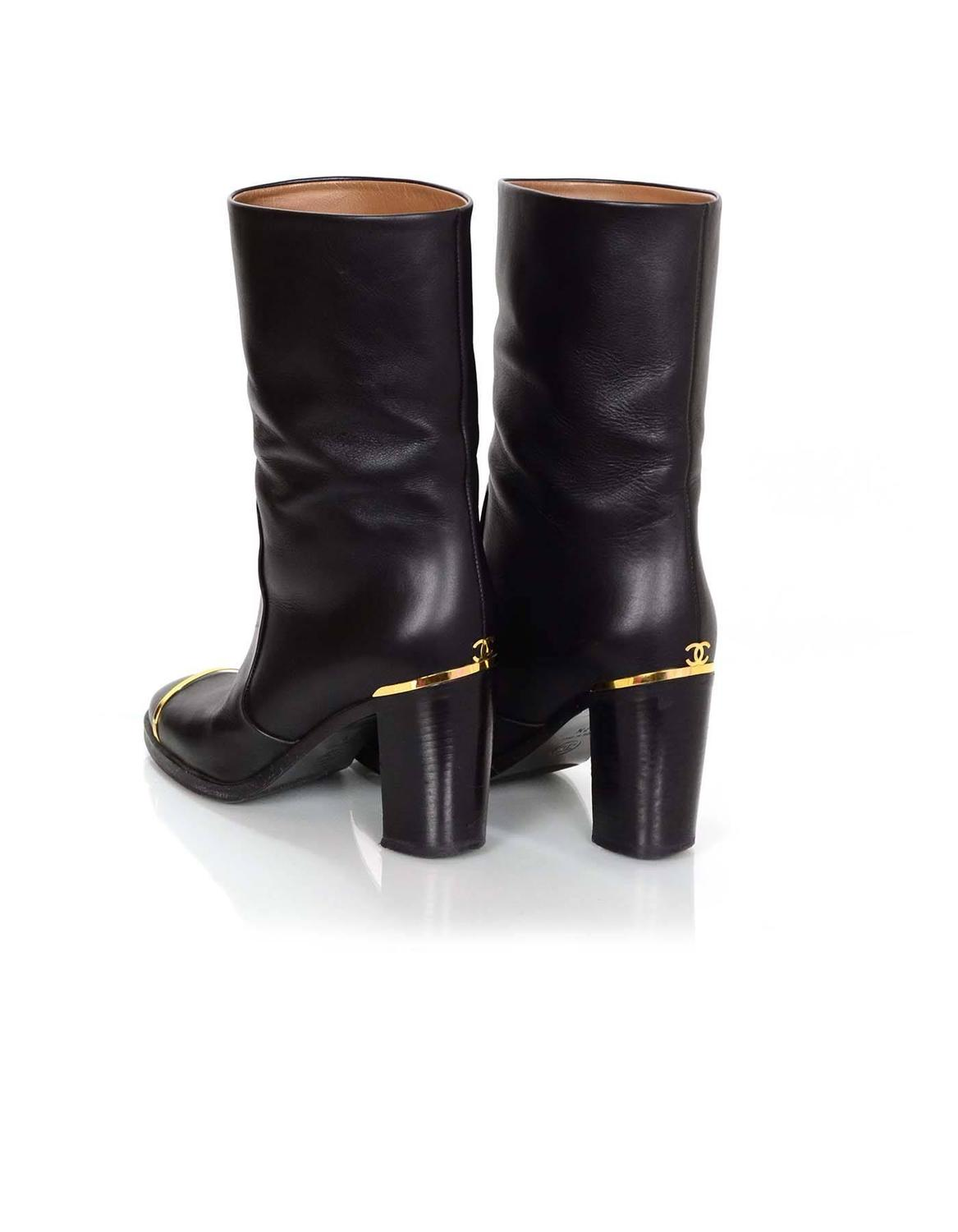 chanel black leather boots sz 37 5 for sale at 1stdibs