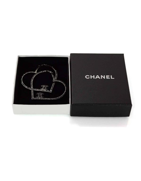 Chanel Black Crystal CC Heart Pierced Hoop Earrings 4