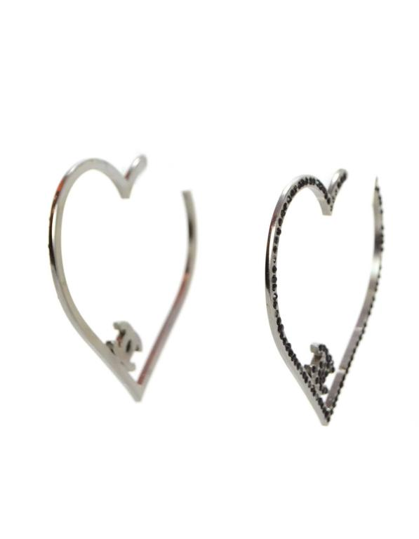Chanel Black Crystal CC Heart Pierced Hoop Earrings 2