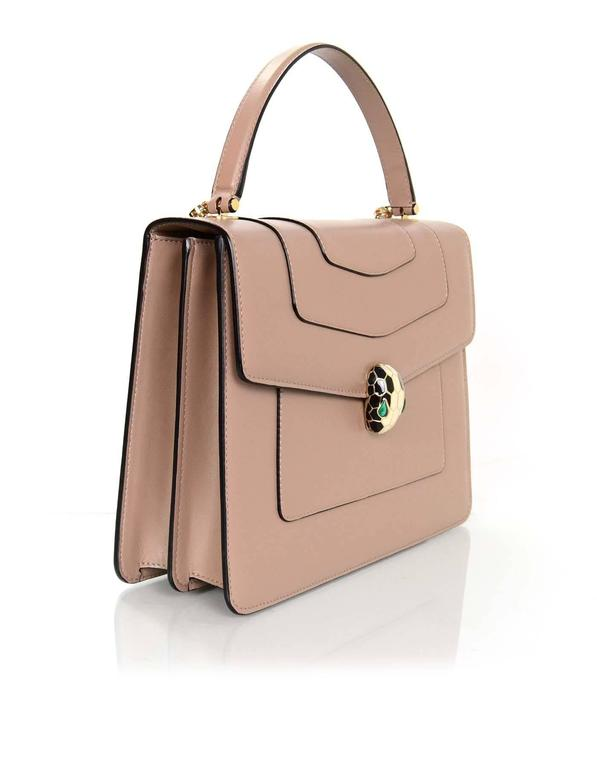 Bvlgari Taupe Leather Serpenti Forever Flap Cover Bag Rt