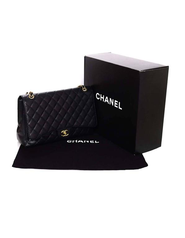 Chanel Black Caviar Leather Quilted Single Flap Maxi Bag GHW rt. $6,000 10