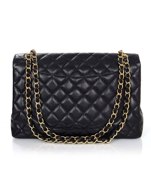 Chanel Black Caviar Leather Quilted Single Flap Maxi Bag GHW rt. $6,000 3